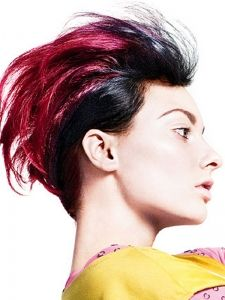 magenta and black color, swept back style