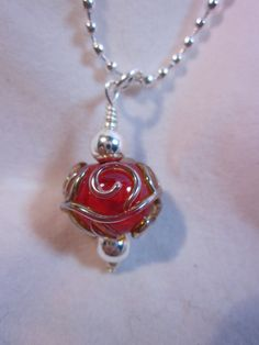 Red Silver Scroll Necklace by haikumaiden on Etsy, $17.00