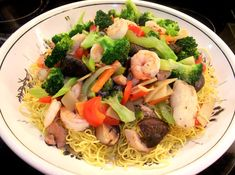 Cantonese Chow Mein is a classic noodle dish of Hong Kong and Guangzhou with the fried noodles being the base for a mélange of stir-fried toppings; when properly cooked their crispness resists softening, even under the multi-toppings and its sauce.