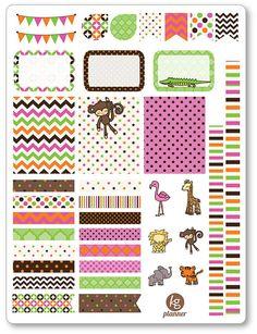 Baby Safari Decorating Kit / Weekly Spread Planner by KGPlanner