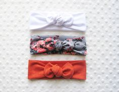 white knotted headband | floral knot headband | coral knotted headband | organic baby head wrap | toddler headband | High Tea hair band set