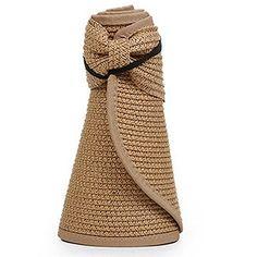 OULII Women Foldable Roll Up Wide Brim Bowknot Summer Beach Sun Visor Straw Hat  Cap ( 46a5d6228c30