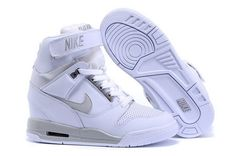 new concept b8ac6 9a66a Women Nike Air Revolution Sky Hi White Grey Wedge Sneakers