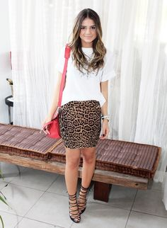 leopard skirt & red Kelly.