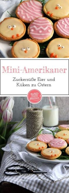 Miniatur-Variante des beliebten Gebäcks: Amerikaner kann man je nach Anlass individuell dekorieren. ZB als süße kleine Küken und Eier zu Ostern.