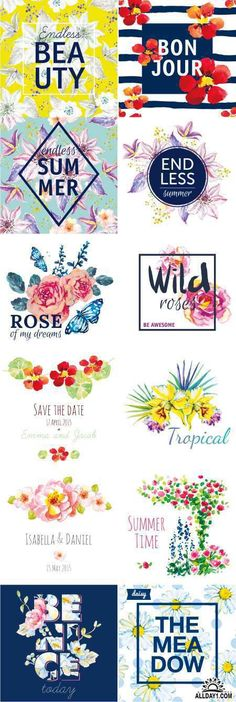 Акварельные цветы | Watercolor flowers. Print for T-shirt. Design frame artwork with slogan, 25xEPS