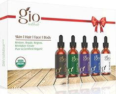 Gio Naturals Organic Carrier Oil Gift Set Castor Jojoba Tamanu and Argan Oil For Hair Face Skin Body and Nails Blend Bottle Included *** See this awesome image : All Natural Makeup All Natural Makeup, All Natural Skin Care, Tamanu Oil, Jojoba Oil, Organic Face Wash, Top Essential Oils, Face And Body, Face Skin, Argan Oil Hair
