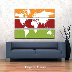 World Map Triptych Canvas Giclee - Yellow / Red Brown / Lime and White