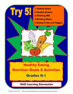 This 10 page bindle includes a self assessment and goal setting activity for healthy eating and nutrition.   The bundle also  includes activities that will help meet each of five goals. Featured topics include:  food groups, vegetable and fruit identification, healthy snacks, dairy products, and healthy meals.