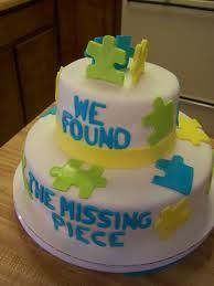 Puzzle Pieces! This isnt very cute, but I love the concept! Adoption shower cake??