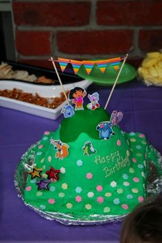 Charlotte's Dora cake for her 3rd Birthday. Made by me!