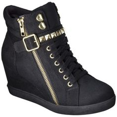 Women's Mossimo Supply Co. Kady High Top Sneaker Wedge - Black from Target. Dress With Sneakers, Wedge Sneakers, Wedge Shoes, High Top Sneakers, Top Shoes, Cute Shoes, Me Too Shoes, Shoes Heels, High Heels