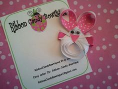 Boutique Spring Easter Bunny Rabbit Holiday Ribbon Sculpture Hair Clip Barrette Bow by Ribbon Candy Bowtiquee