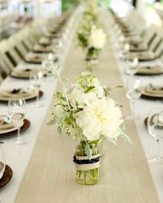 """See the """"The Centerpieces"""" in our A Rustic Navy-and-Taupe Tent Wedding at Home in Massachusetts gallery"""