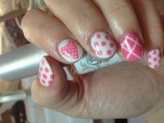 Nail art for my sister inspired by @nailsbylins. Harmony Gelish Sheek White and a custom mix of white and Tiger Blossom. Cute heart and polka dots. Summer nails.