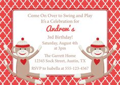 Adorable Sock Monkey Invitation - would be great for kids birthday parties or a baby shower!