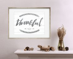 """Vintage looking personalized print with """"thankful"""" in brush script"""