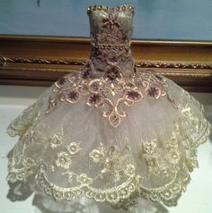 Art dress, Barbie size, paper mache bodice, beatuiful laces and embellishments