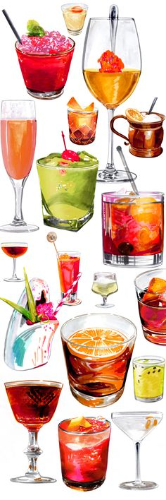 A collection of 50 Cocktail Illustrations for Bloomberg Pursuits by Illustrator Holly Wales