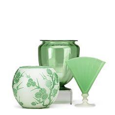 Steuben Green Glass Vases