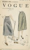 An original ca. 1954 Vogue pattern 8364.  Four piece skirt with released pleat at centre back seam. Saddle pocket on right side of front, optional. Skirt finished on a waist-band with or without belt carriers. Novelty belt. Shown as a golf skirt.