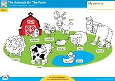 """""""The Animals On The Farm"""" Color The Animals Worksheet from Super Simple Learning. #preK #Kindergarten #ESL"""