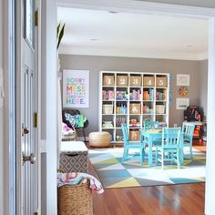 Immediately went 😍 looking at this . Regrann from @abbyorganizes - Hello, #playroomgoals ! @kate_decorates knocked it out of the park with… Playroom Colors, Playroom Layout, Gray Playroom, Sunroom Playroom, Playroom Table, Playroom Ideas, Kid Playroom, Office Playroom, Playroom Organization
