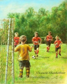 Soccer, sports, art print, boys wall art, 8x10 :Little Defender by Laurie Shanholtzer