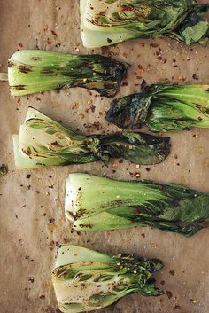 """Roasted Baby Bok Choy with Lemon Garlic Cashew Cream"""