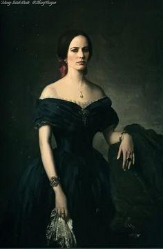 Eva Green's portraits for Angelique Bouchard in Dark Shadows.
