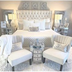 44 Master Bedroom Wall Decor Above Bed Rustic Ideas 6 Bedroom Decoration master bedroom wall decor Bedroom Wall Decor Above Bed, Room Ideas Bedroom, Home Decor Bedroom, Glam Bedroom, Bedroom Furniture, Silver Bedroom Decor, 1980s Bedroom, Bedroom Romantic, Glam Bedding