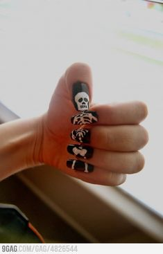 Boredom + Nails = Skeleton Nails; these are sweet! Great idea for Halloween time ;)