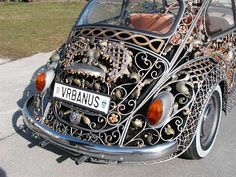 Luxurious cars by Metal Art workshop Vrbanus Steampunk Victorian filigree beetle Volkswagen by Metal Art shop Vrbanus, Sisak, Croatia. Volkswagen Tiguan, Auto Volkswagen, Wrought Iron Gate Designs, Neo Victorian, Vw Beetles, Art Cars, Cool Cars, Weird Cars, Dream Cars