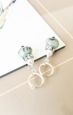 Kiwi Jasper Crystal & Pearls ~ #silvanasagan #bohemian #boho #bohemianjewelry #bohochic #jasper #earrings #jewelry