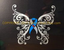 Grey and Light Blue Awareness Ribbon Fancy Butterfly Window Decal (Type 1 Diabetes)