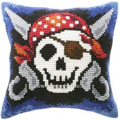 Skeleton Pirate Cushion Front