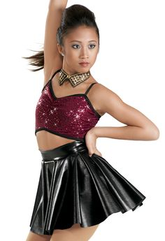 Weissman™ | Sequin Top with Leather Skirt