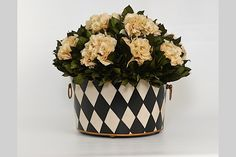 R18365-Cream Hydrangea in Large Oval Tole The French Bee-Home and Floral Collection