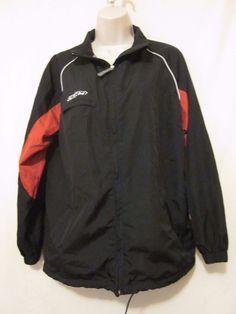 CCM Hockey Jacket Size L Large Black Red Windbreaker Zip Up Adult #CCM…
