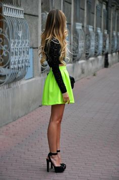 neon mini skirt with long sleeve black top