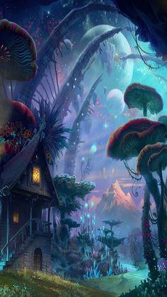 Tiny World Fantasy Art HD desktop wallpaper : Widescreen : High Fantasy Art Landscapes, Fantasy Landscape, Fantasy Artwork, Mystical Forest, Fantasy Forest, Fantasy Places, Fantasy World, Mushroom Wallpaper, Fantasy Background