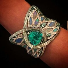 23ct Paraiba Tourmaline with Diamonds and Opals from @arunashibh at #Couture2015 pure #ParaibaPorn Photo by @thejewelleryedfrom @luxuryjewelleryevents