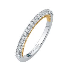 Two-Tone Gold Ct Diamond Carizza Wedding Band Wedding Bands For Her, Womens Wedding Bands, Wedding Ring Bands, Wedding Jewelry, Custom Jewelry Design, Rings Online, Jewelry Shop, Round Diamonds, Band Rings