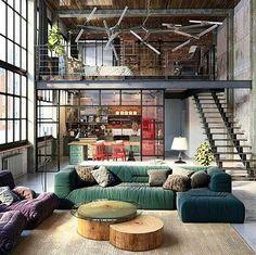 Bom Dia com pé direito bem alto!   #Repost @design_interior_homes with @repostapp  Industrial Loft designed by Golovach Tatiana & Andrey Kot