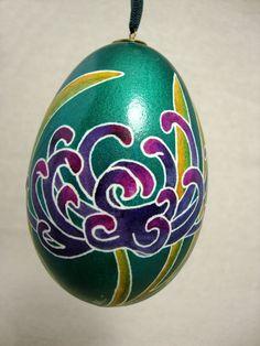 Art Nouveau Style Chrysanthemum Goose Egg by GrnFaerieDesigns
