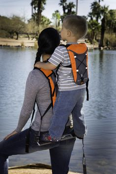 NEW!! EXPLORER Toddler Carrier: Standing Child Carrier with Adult & Child Hydration, Storage and Safety Harness (2 Color Choices)
