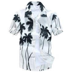 Short Sleeve Coconut Palm Printed Hawaiian Shirt ($12) ❤ liked on Polyvore featuring men's fashion, men's clothing, men's shirts, men's casual shirts, mens casual short-sleeve button-down shirts, mens short sleeve shirts, men's hawaiian print shirts and mens palm tree shirt