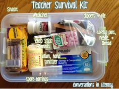 Give to New Teachers =) Back to School Teacher Survival Kits- what to keep in your kit to make it through those little emergencies that might pop up! Survival Kit For Teachers, Teacher Survival, Teacher Tools, New Teachers, Teacher Hacks, Teacher Resources, Survival Kits, Teacher Stuff, Survival Supplies