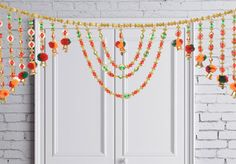 Amazon.com - Diwali decorations and Diwali gifts, Indian Handmade Decoration for Door Valance/window Valance Ethnic Toran Multi Color Beads and Sequins for Pooja -