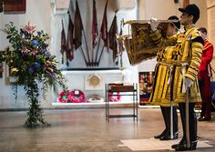 The Trumpeters of the Household Cavalry in their magnificent gold coats sound The Last Post and Reveille.